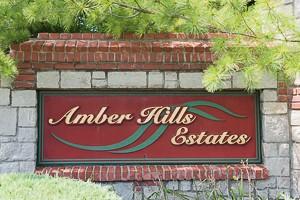 Entry monument for Amber Hills Estates neighborhood in Olathe KS