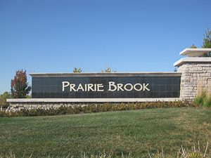 Entry monument at Prairie Brook Olathe KS