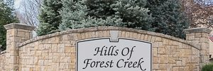 Hills of Forest Creek entry monument Shawnee KS