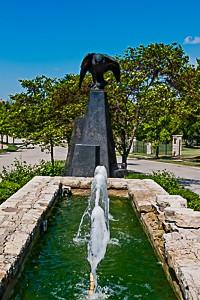 The Falcon statue at Falcon Ridge Estates on the Prairie Star Parkway entrance