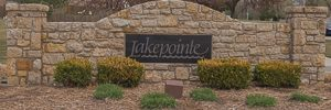 Lakepointe entry monument Shawnee KS